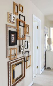 02-a-gallery-wall-of-mixed-empty-frames-and-monograms-looks-very-exquisite-and-adds-style